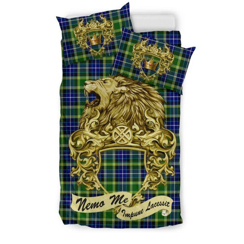 Scotland Lion Mackellar Tartan Bedding Set D7 Bedding Set - Black / Twin Sets