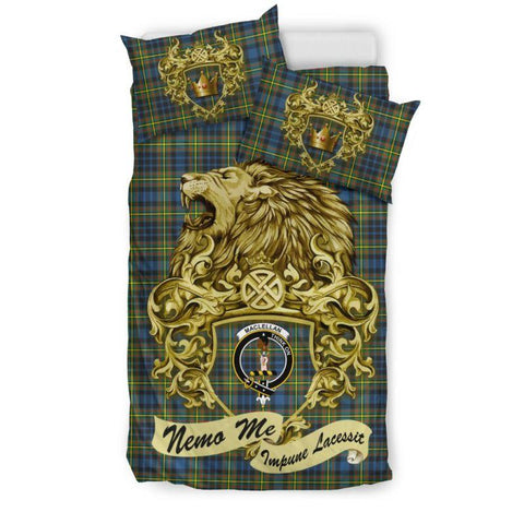 Scotland Lion Maclellan Ancient Tartan Bedding Set D7 Bedding Set - Black / Twin Sets