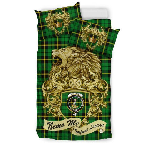 Scotland Lion Wallace Hunting Green Tartan Bedding Set D7 Bedding Set - Black / Twin Sets
