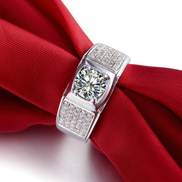 Men 1 Carat Round 18K White Gold Moissanite Diamond Wedding Luxury Ring