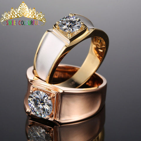 100% 18K 750Au Gold Moissanite Diamond Men Ring