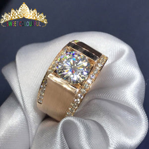 100% 18K 750Au Gold Men Moissanite Diamond Ring