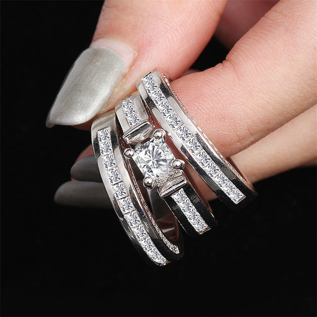 100% 18K White Gold Diamond Ring Set for Women Men Anillos Three piece Bizuteria Gemstone 18k Gold Diamond Jewelry Wedding Rings