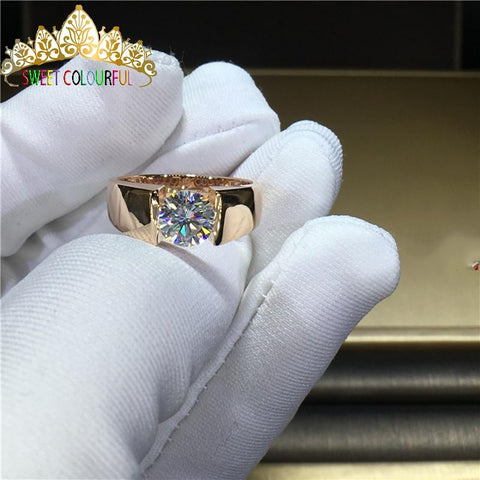 100%  Gold  Moissanite  Diamond Men Ring