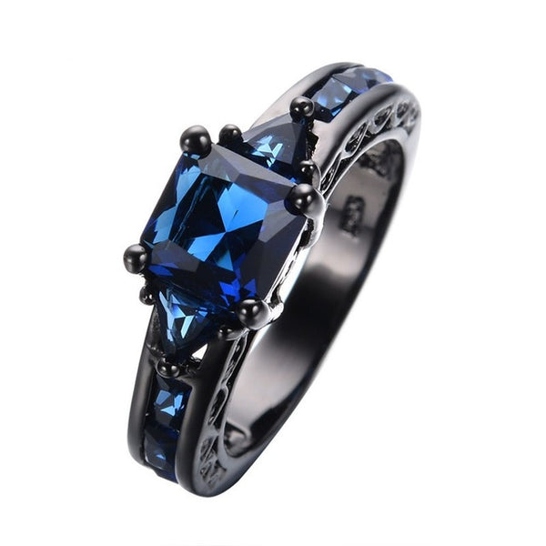 14K Multi-tone Sapphire Diamond Ring Obsidian Diamante diamond jade Ring Rock for Men women