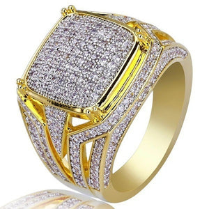 18k Yellow Gold Square Cut Zircon Diamond Ring For Men Gentleman Diamond Zircon Engagement Wedding Party Yellow Gold Finger Ring