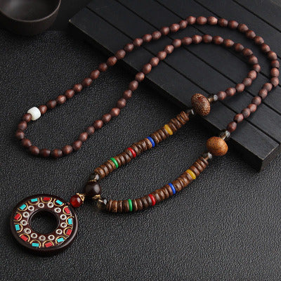New Handmade Nepal Necklace Buddhist Mala Wood Beads Pendant & Necklace