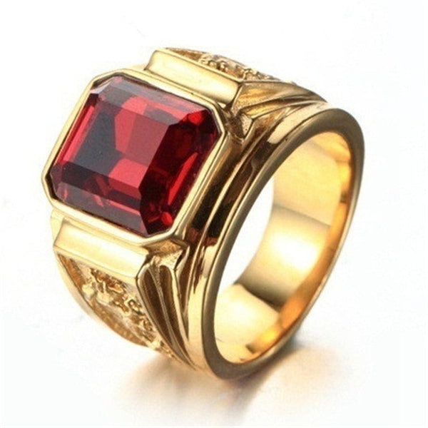 New Trendy Men Ring Black/Red Stone Square top design