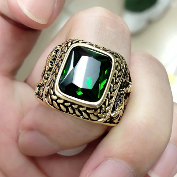 2020 Gift 4 Color Red Green Square Stone Titanium Dragon Ring for Men  Stainless Steel Unique Fashion Male's Cross Ring for Male