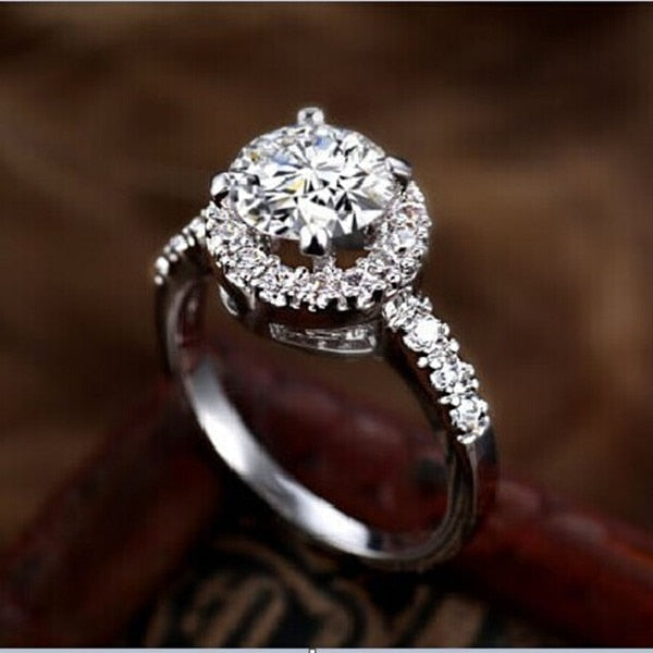 2CT Solid Gold 585 Round Halo Smart SONA Diamond Women Engagement Ring Pure White Gold 14K Everlasting Quality