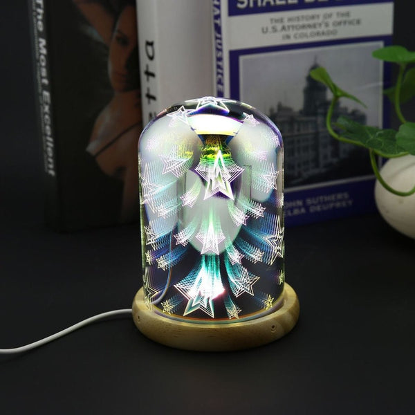 3D Night Light Magic Desk Table Lamp with Glass Cover LED USB Atmosphere Light 37D
