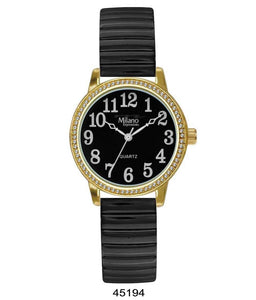 Milano Expression Watch with Black Flex Band with Gold Case, Black Dial