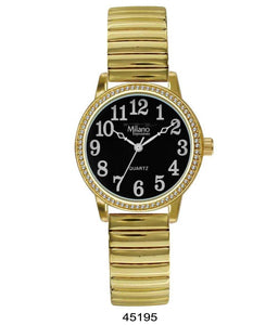 Milano Expression Watch with Gold Flex Band with Gold Case, Black Dial