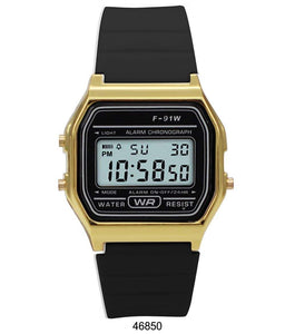 Sporty Black Silicon Digital Watch