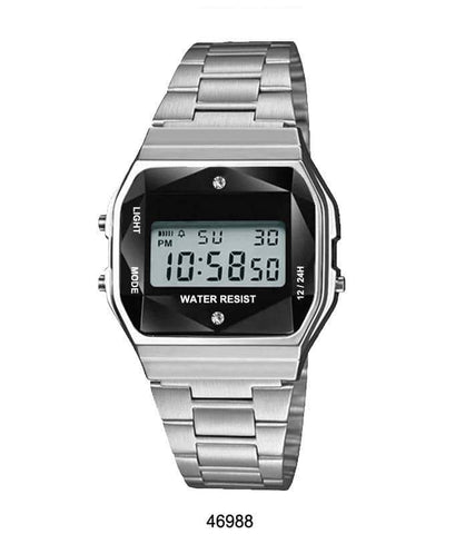 Silver Sports Metal Band Watch with Silver Metal Case and Black Crystal Cut LCD Display