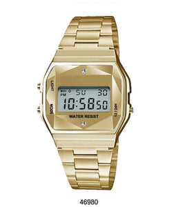 Gold Sports Metal Band Watch with Gold Metal Case and Gold Crystal Cut LCD Display