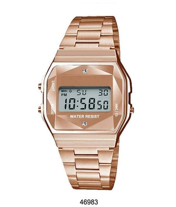 Rose Gold Sports Metal Band Watch with Rose Gold Metal Case and Crystal Cut LCD Display