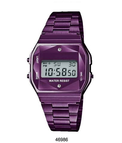 Purple Sports Metal Band Watch with Purple Metal Case and Purple Crystal Cut LCD Display