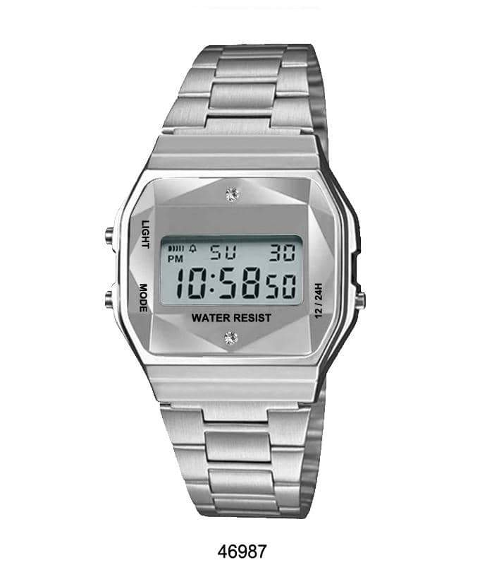 Silver Sports Metal Band Watch with Silver Metal Case and Silver Crystal Cut LCD Display