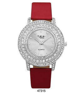 M Milano Expressions Red Vegan Leather Band Watch with Silver Stone Case and Silver Dial