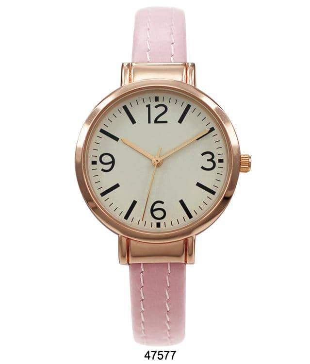 Hot Pink Vegan Leather Cuff Watch with Rose Gold Case and Gold Dial