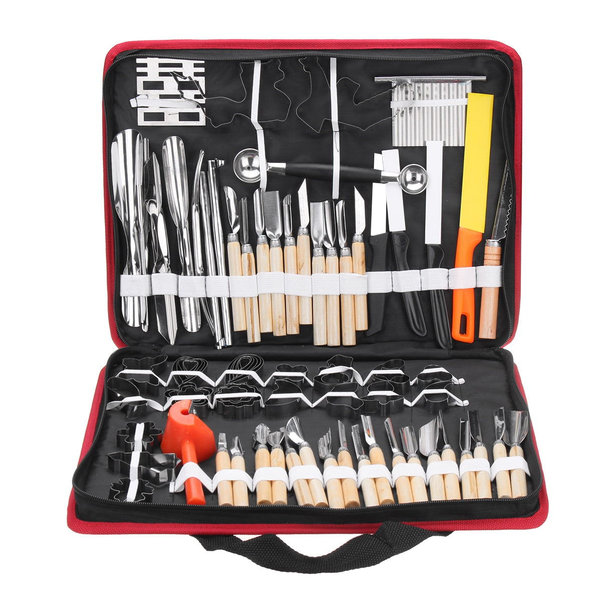 80PCS/Set Kitchen Carving Tool Kit Set with Portable Storage Bag Bakeware Vegetables Food Fruits Cooking Decorating Tools Gadget