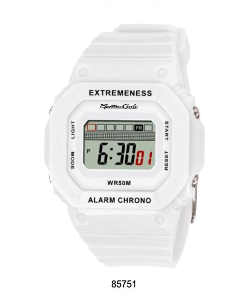 Montres Carlo White Digital 50 Meter LCD Watch