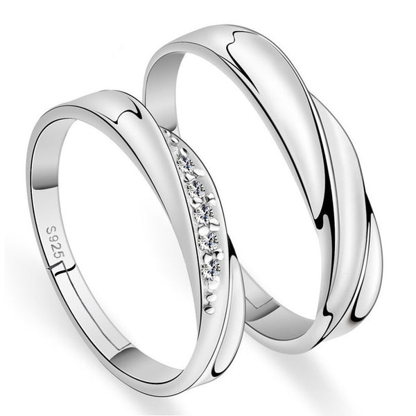 925 Sterling Silver Engagement Ring Couple Lovers'Ring For Man and Women