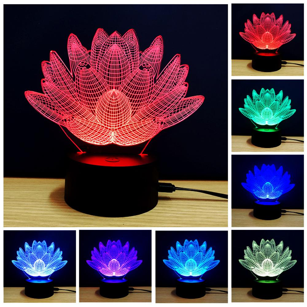 Creative Lotus Design 3D color LED table lamp