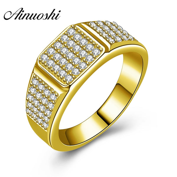 AINUOSHI 14K Solid Yellow Gold Men Ring SONA Diamond Geometric Cluster Ring Wedding Engagement Gold Jewelry Wide Wedding Band