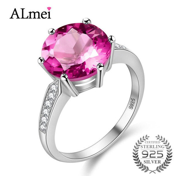 Almei 100% Silver Ring 4.2 Carat Pink Topaz Wedding Rings 925 Sterling
