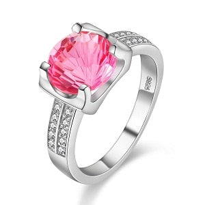 Almei 2019 Tested Silver 925 Pink Topaz Zircon Jewelry Gemstone Wedding Ring