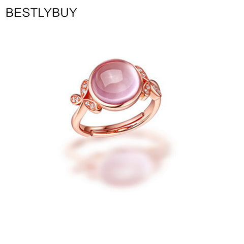 Women Rose Quartz 925 Sterling Silver Ring Fine Jewelry