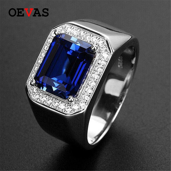 Big Blue Zircon stone Silver color rings for men Shiny AAA CZ Party jewelry men Anniversary jewelry ring size 7-11 bague homme