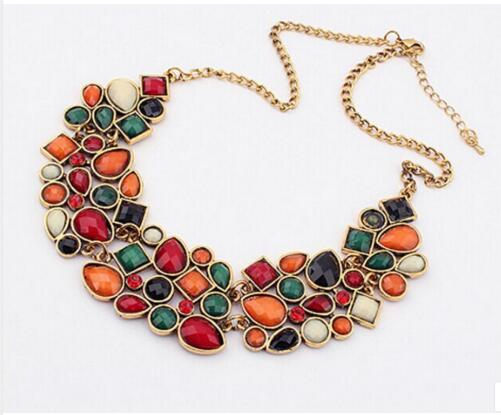 Geometric Multicolor Mosaic Stone Beads Choker Necklace Women