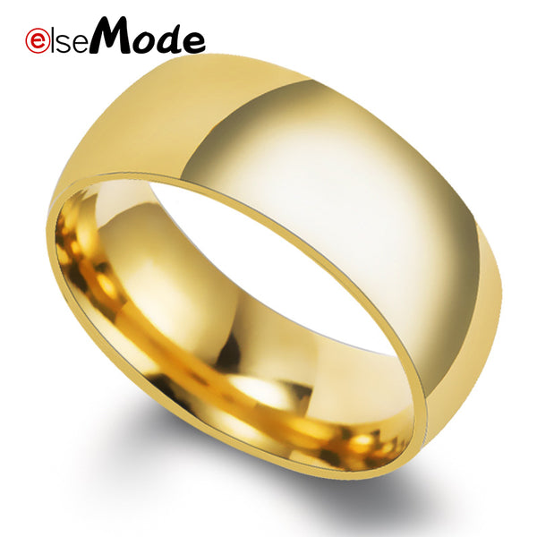 ELSEMODE 8mm 316L Stainless Steel Shiny Polished Ring Men Women Fashion Jewelry Wedding Engagement Band Rings Gold Silver
