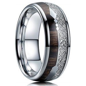 FDLK   8mm Tungsten Carbide Stainless Steel Rings Inlay Hawaiian Koa Wood Meteorite Arrow Wedding Band Men's Jewelry