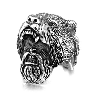 FDLK   Men Black Silver Color Unique Viking Bear Head Rings Stainless Steel Biker Rings Vintage  Punk Men's Ring Fashion Jewelry