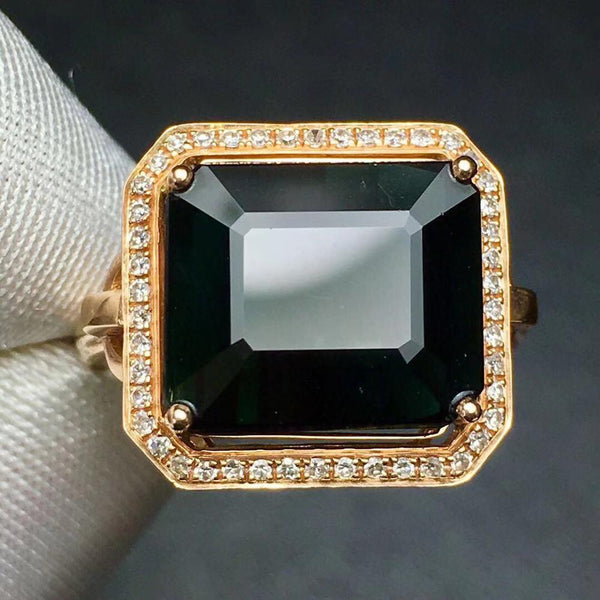 Fine Jewelry Real Pure 18 K Gold Jewelry 100% Natural Green Tourmaline Gemstones 8.2ct Diamonds Male's Wedding Fine Man's Rings