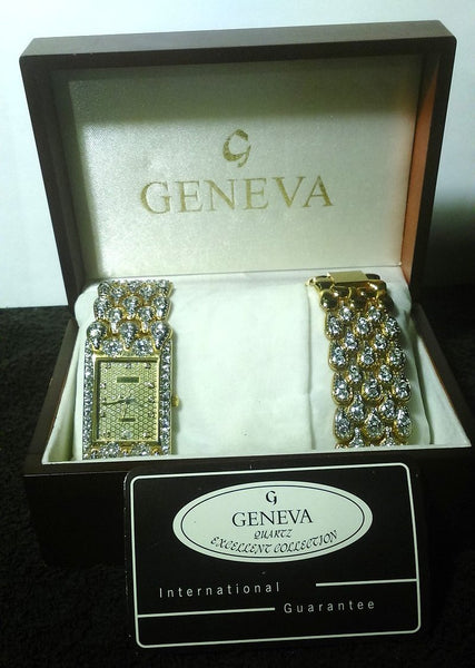Geneva Quartz Watch and Bracelet Jeweled Set