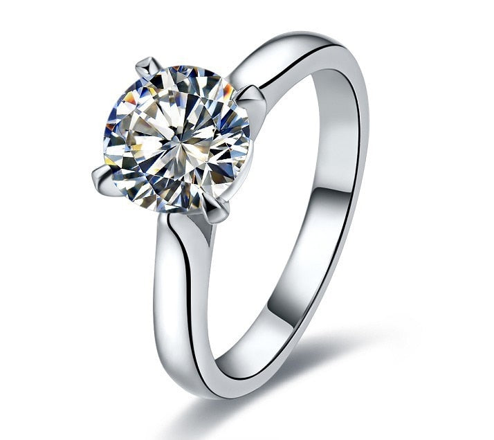 Genuine Sterling Silver 2 Carat Simulate Diamond Engagement Ring White Gold Finish Best Wedding Anniversary Ring