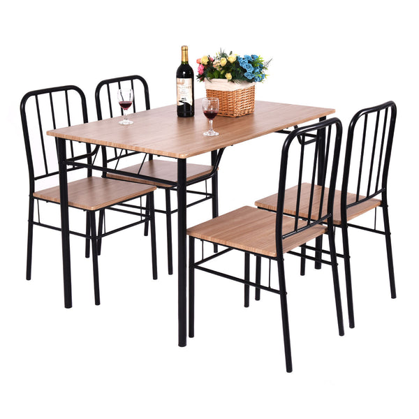 Giantex 5 Piece Dining Set Table and 4 Chairs Metal Wood Home Modern Breakfast Furniture Kitchen Table Chairs Set HW53838