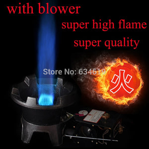 High fire solid cast iron gas cooking burner with air blower kitchen cooking burner restaurant burner with ignition switch