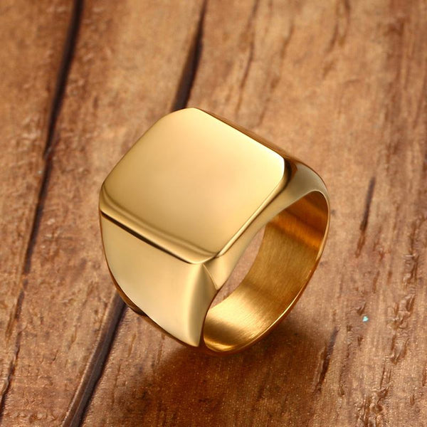 Hot Fashion Men's Club Pinky Signet Ring Personalized Gorgeous Stainless Steel Band Classic Anillos Gold Tone Men's Jewelry 2019