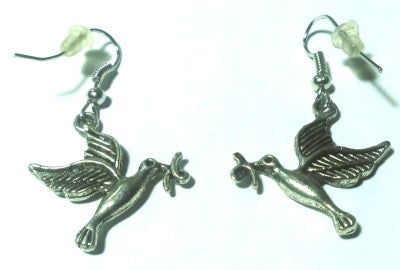 Women Humming Bird Pierced Silver Earrings