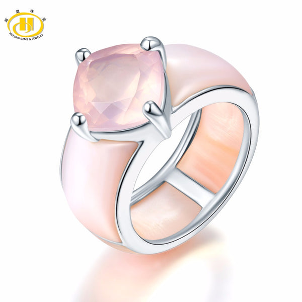 4.03ct Rose Quartz Women's Solid 925 Silver Natural Gemstone Ring