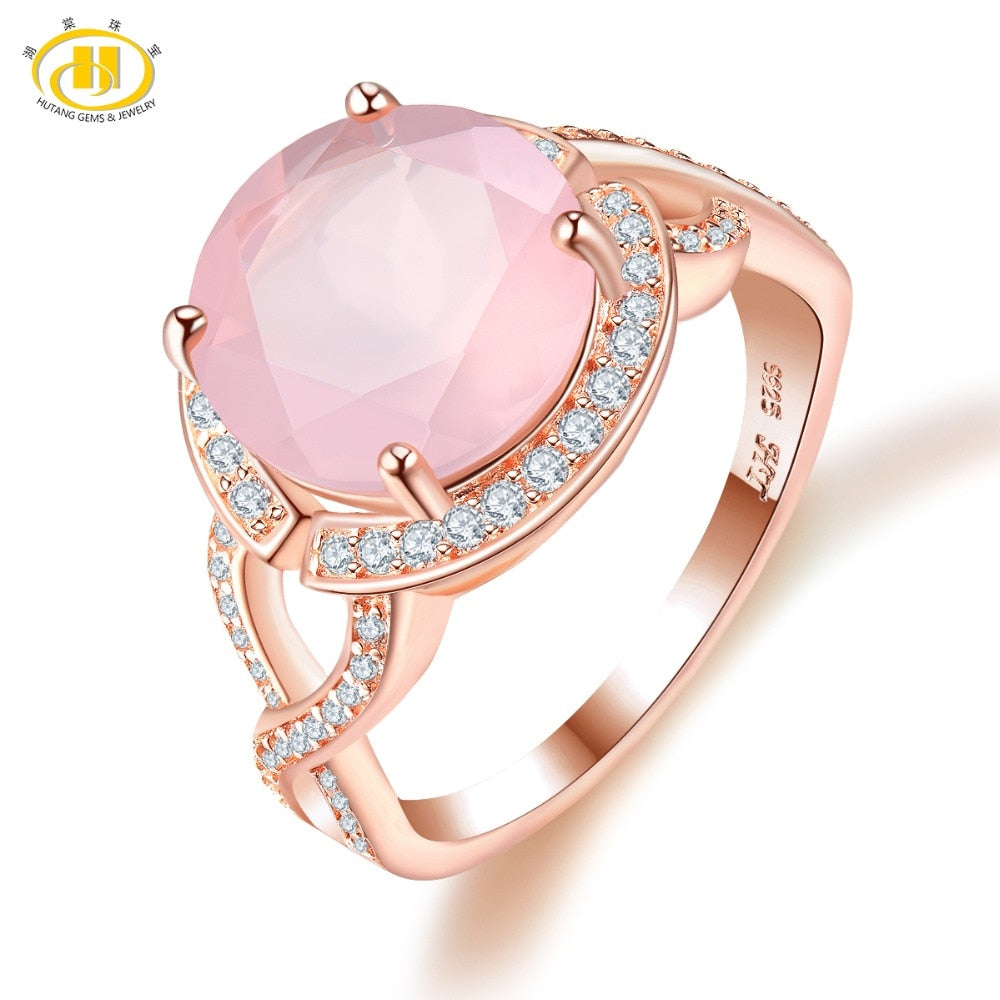 Rose Quartz Engagement Ring Rose Gold Solid 925 Sterling Natural Gemstone