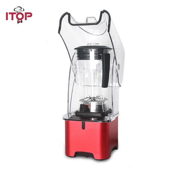 ITOP 2200W Electric Commercial Blender Juicer With Sound Cover 2L Powerful Smoothie Blender Food Mixer Flat Blade 220V
