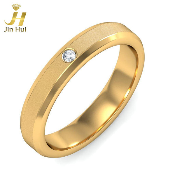 Jinhui Men The Texere Ring Solid 18K Yellow 750 Gold 0.11CT Natural Diamond  Jewelry  Free Engraving