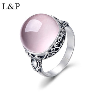 L&P Elegant Rose Quartz Ring For Lady Authentic 925 Sterling Silver Inlay Pink Crystal Ring